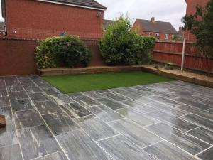 Granite patio and artificial turf