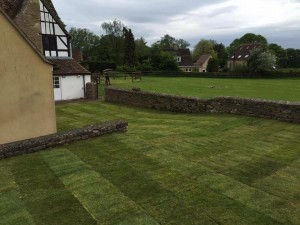 Large new lawn laid by Dan Davies Landscaping, Wiltshire