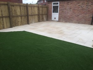 New lawn and patio area