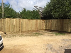 Sturdy new wooden boundary fence by Dan Davies Landscaping Wiltshire