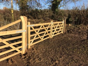 Double wooden five bar gates in Wiltshire