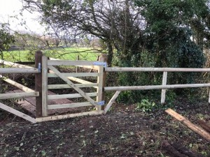 Rustic field fencing and new gate in Wiltshire