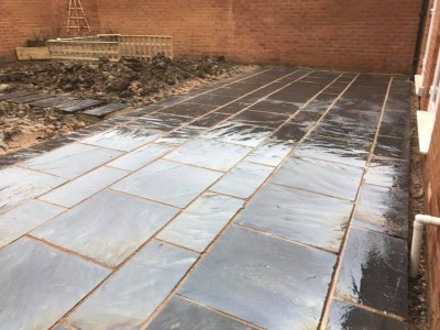 Slate patio being laid in Wiltshire